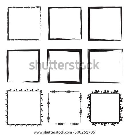 Set Empty Scribble Square Frame Vector Vector de stock500261785 ...