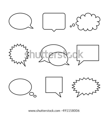Set of empty speech bubbles