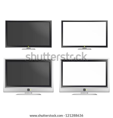 Set of empty TV. Vector design. - stock vector