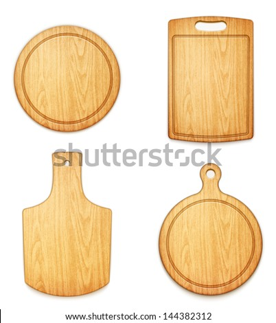 set of empty wooden cutting boards on white background eps10 vector illustration