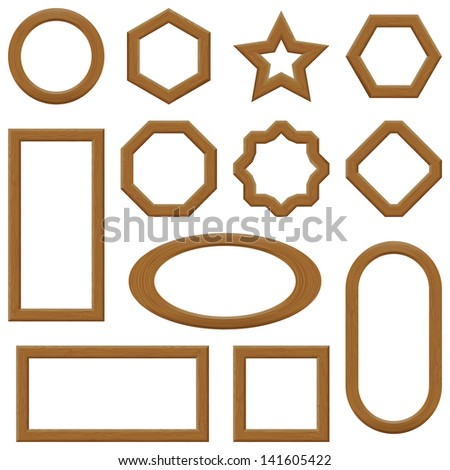 Set of empty wooden frames, different shapes. Vector - stock vector