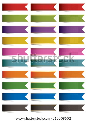set of end ribbons in three styles, plain, gold trim and cross hatch, with transparent shadows - stock vector
