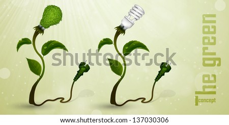 set of energy-efficient light bulbs from the grass and green leaves. The concept of clean energy - stock vector