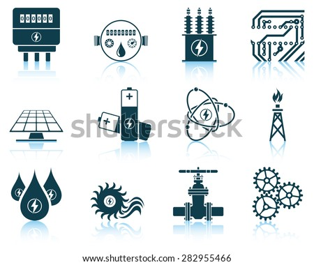 Set of energy icons. EPS 10 vector illustration without transparency. - stock vector