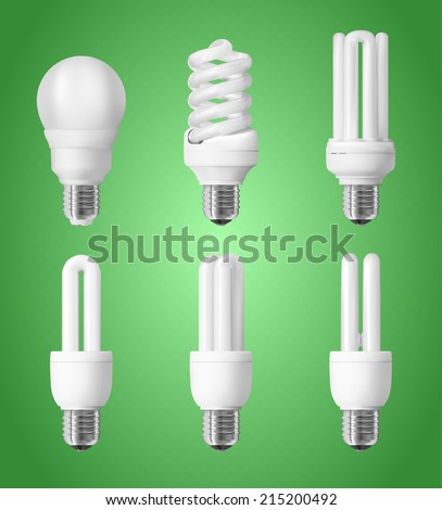 Set of energy saving light bulbs - stock vector