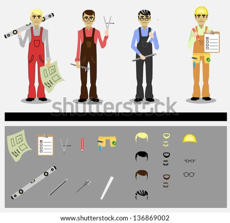 set of engineers with tools - stock vector