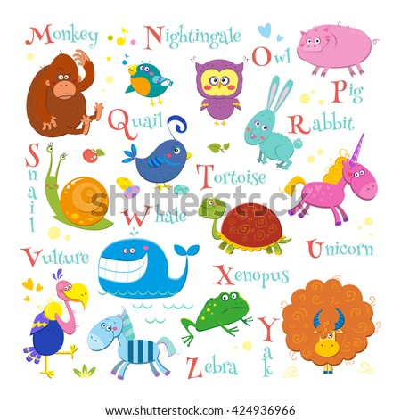 Set of english zoo alphabet with cute cartoon different animals isolated on white background. Funny vector illustrations for children. - stock vector