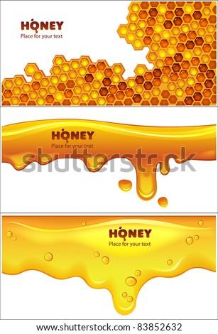 Set of EPS10 vector honey banners - stock vector