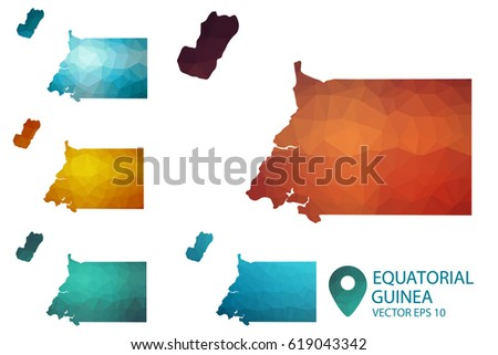 Set of Equatorial Guinea maps. Bright gradient map of country in low poly style. Multicolored country map in geometric style for your infographics. Vector illustration eps 10.
