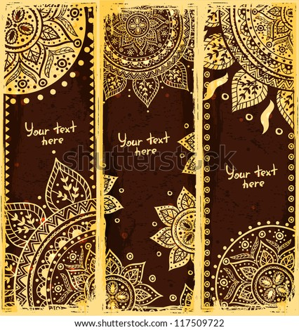 Set of ethnic bookmarks with gold ornaments - stock vector