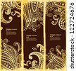 Set of ethnic bookmarks with gold paisley ornaments - stock vector