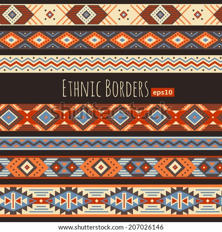 Set of ethnic borders for design and decoration