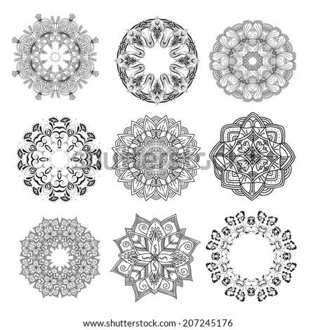 Set of ethnic mandalas. Round patterns. Vector art - stock vector