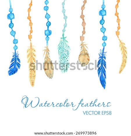 Set of ethnic multicolored feathers. Ethnic illustration in native style. Dream catcher background - stock vector