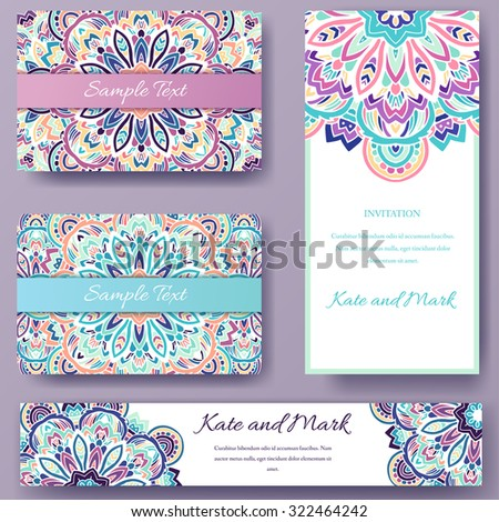 Set of ethnic ornament banners and flyer concept. Vintage art traditional, Islam, arabic, indian, ottoman motifs, elements. Vector decorative retro greeting card or invitation design illustration. - stock vector