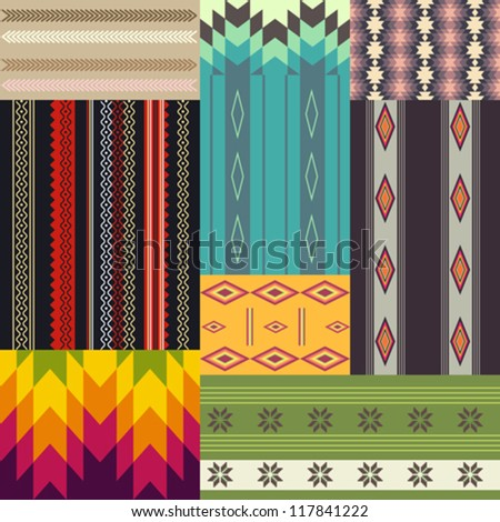 Set of ethnic patterns - stock vector