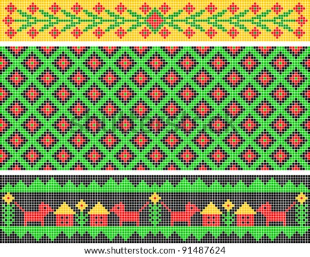 Set of ethnic patterns. Patterns are similar to an ancient Russian ornament.
