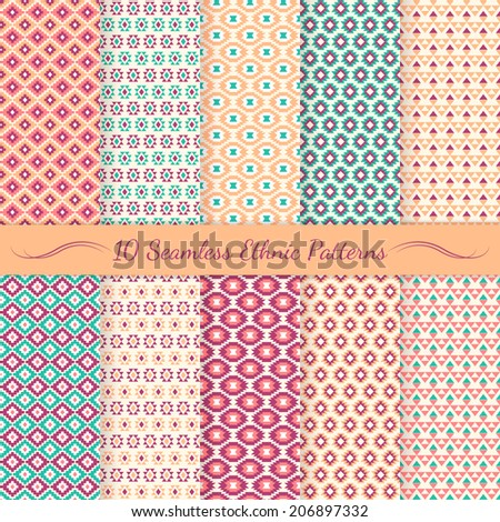 Set of ethnic seamless patterns. Aztec backgrounds. Swatches of seamless patterns included in the file. - stock vector