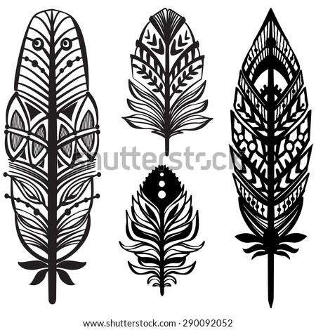 Set of ethnic tribal feathers - stock vector