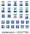 set of european information road signs - stock vector