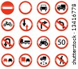 set of european information warning signs - stock vector