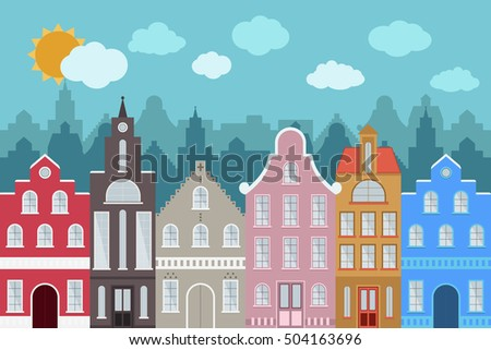 Set of European style colorful cartoon buildings. Isolated hand drawn houses for your design. Perfect for greeting cards