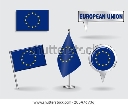 Set of European Union pin, icon and map pointer flags. Vector illustration. - stock vector