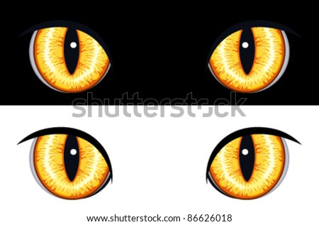 Set of evil animal eyes. Isolated on black and white backgrounds. Vector file saved as EPS AI8, all elements layered and grouped, no gradients, no effects. - stock vector