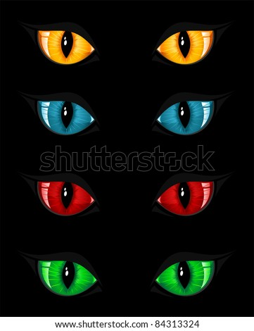 Set of evil eyes on black background, illustration - stock vector