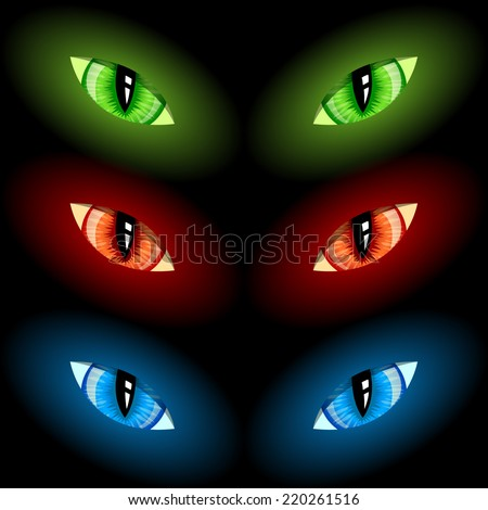 Set of evil eyes on black background, vector - stock vector