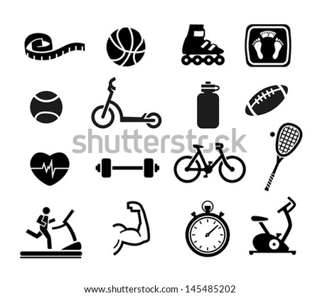 Set of Exercise and Fitness Icons - stock vector