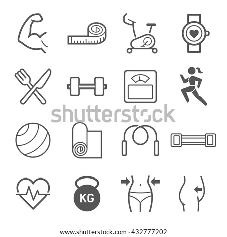 Set of exercise icons. Vector illustrations. - stock vector