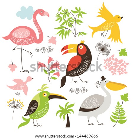 set of exotic birds - stock vector