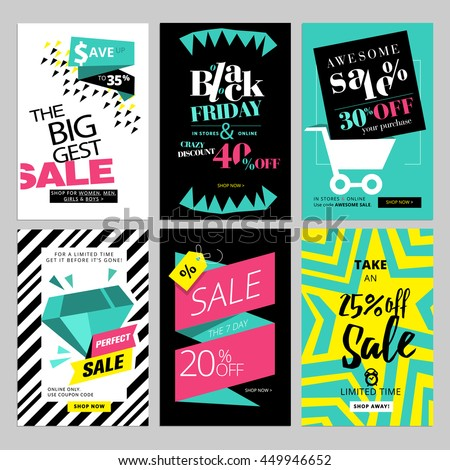 Set of eye catching web banners for shopping, sale, product promotion, clearance. Vector illustrations for social media banners, posters, email and newsletter designs, ads, promotional material. - stock vector