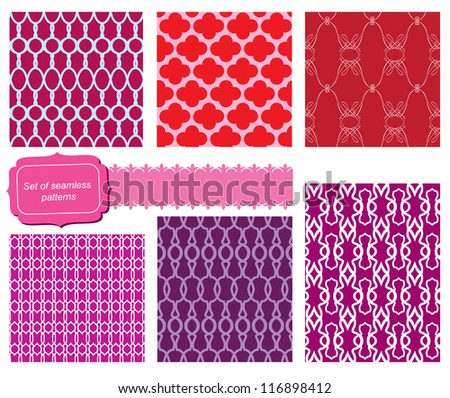 set of fabric textures with different lattices - seamless patterns - stock vector