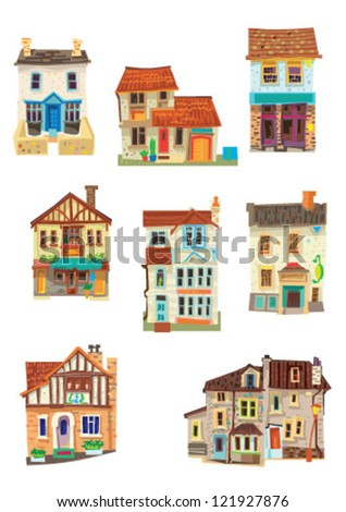 set of facades - Bristol - cartoon - stock vector