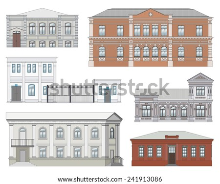 Set of facades in historical city center (colored, highly detailed, isolated) - stock vector