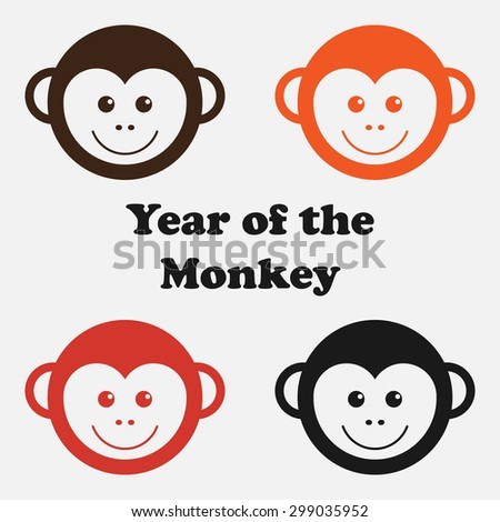 Set of face monkey. New Year. Year of the red apes. Chinese; monkey; Chinese; new year - stock vector