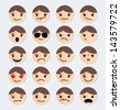 Set of faces with various emotion - stock vector