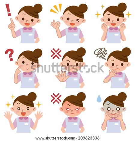 Set of facial expressions of young women - stock vector