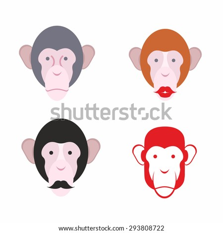 Set of facial monkey. Monkey with a mustache. various of animals. Vector illustration  - stock vector