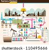 Set of factory infographics, factory info graphics vector illustrator - stock photo