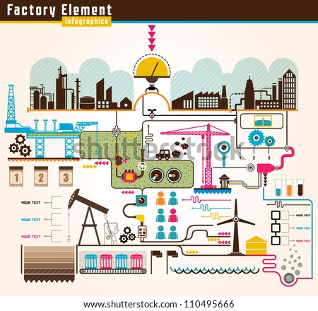 Set of factory infographics, factory info graphics vector illustrator - stock vector