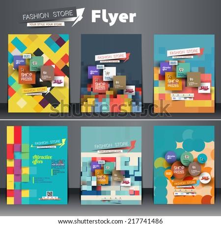Set of Fahion Shopping Center Flyer Template  - stock vector