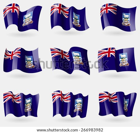 Set of Falkland Islands flags in the air. Vector illustration - stock vector