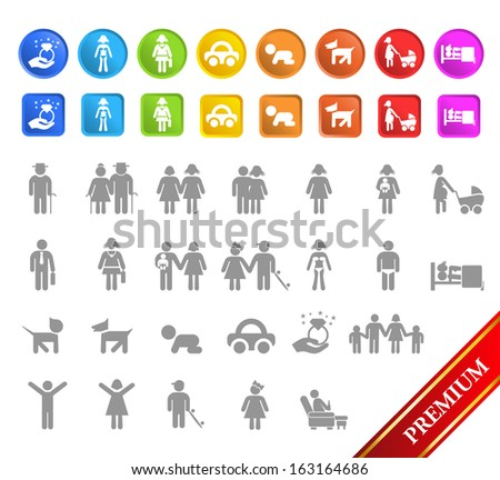 Set of Family Buttons 2.  - stock vector