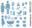 Set of family icons for design - stock vector