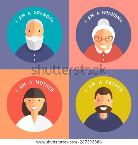 Set of Family Members Portraits. Grandpa, Grandma, Mother and Father. Flat Design Icon - stock vector