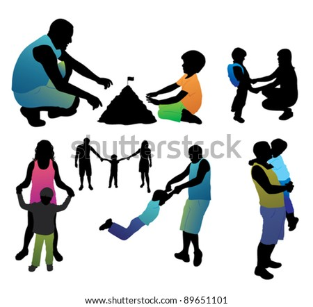 Set of family silhouettes.  Active lifestyle. - stock vector