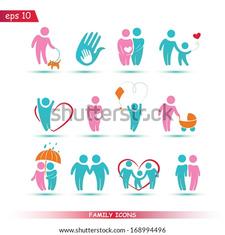 Set of  family vector icons for your design - stock vector